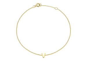 9ct Yellow Gold Plain Single V Initial Bracelet