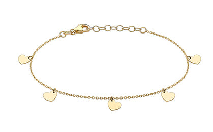 9ct Yellow Gold Hanging Heart Charm Bracelet