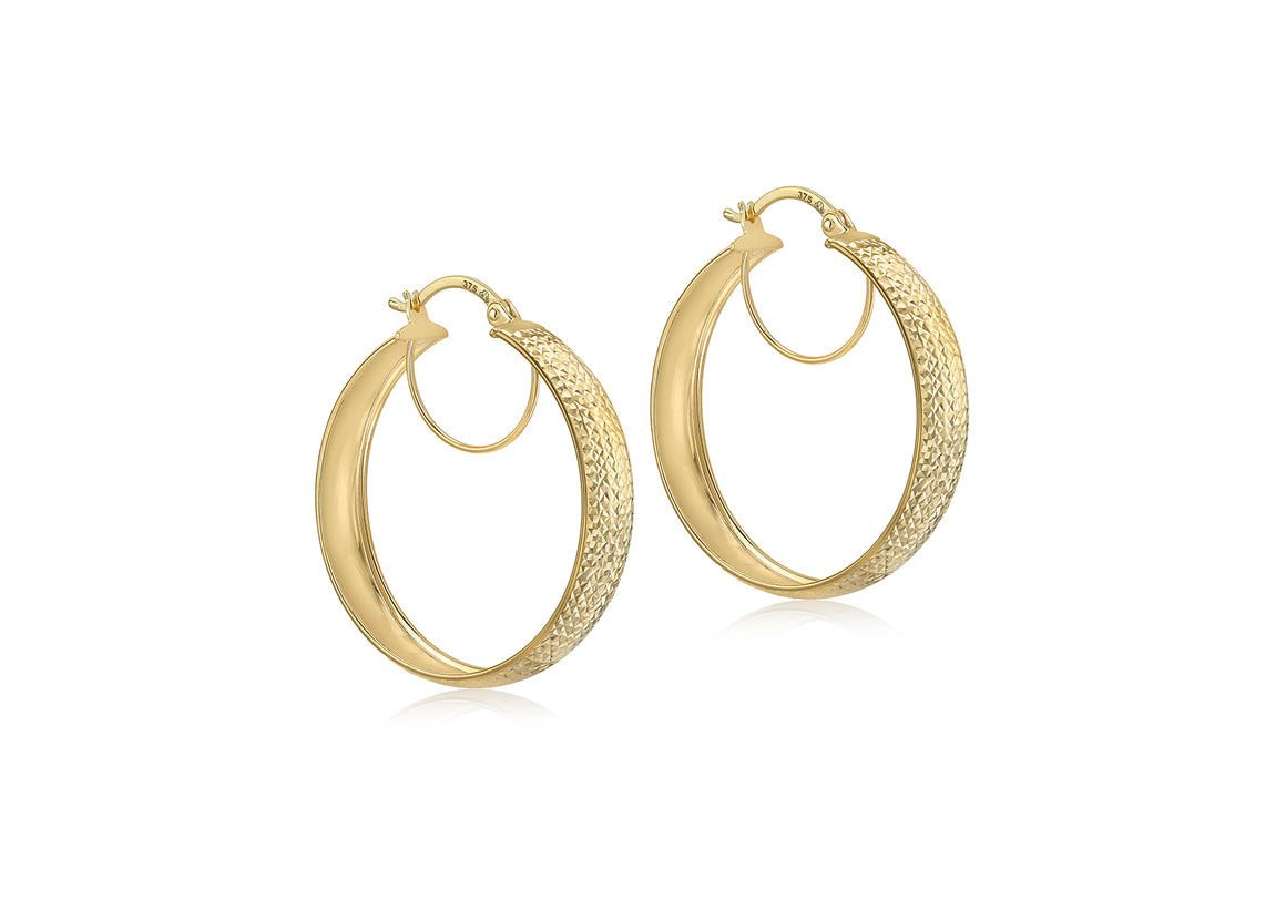 9ct Gold Diamond Cut Large 30mm Hoops