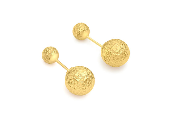 9ct Yellow Gold Diamond Cut Double Ball Stud Earring