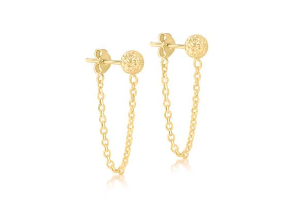 9ct Yellow Gold Stud Earrings with Drop Chain