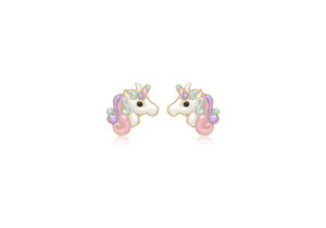 9ct Yellow Gold Unicorn Stud Earrings