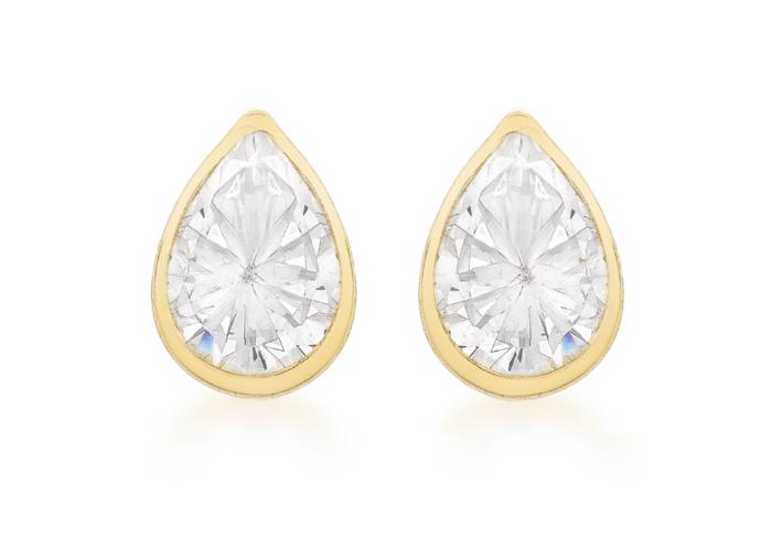 9ct Yellow Gold Cubic Zirconia Pear Shape Stud