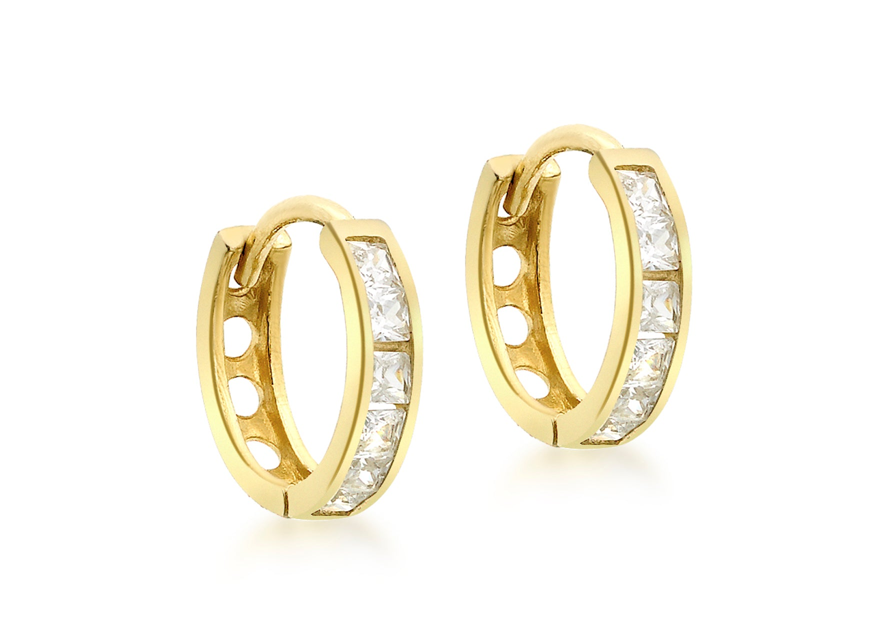 9ct Yellow Gold Cubic Zirconia Huggie Hoops