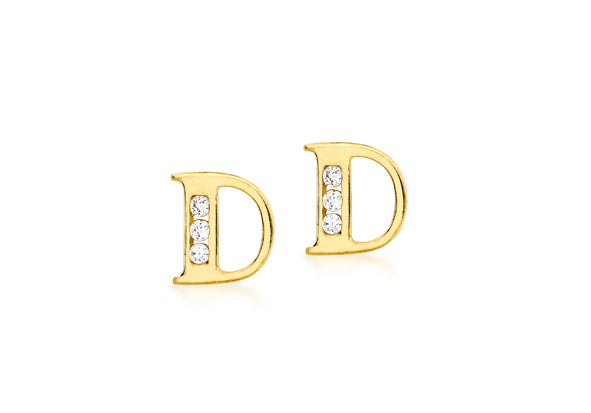 9ct Yellow Gold Initial 'D' Crystal Stud Earring
