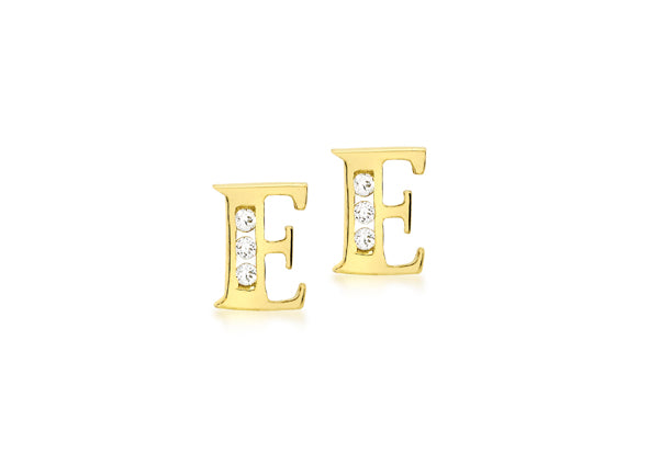 9ct Yellow Gold Initial 'E' Crystal Stud Earring