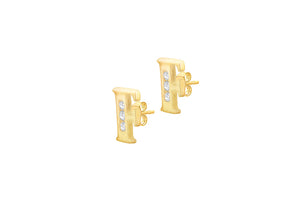 9ct Yellow Gold Initial 'F' Crystal Stud Earring