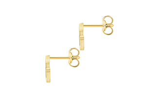 9ct Yellow Gold Initial 'G' Crystal Stud Earring