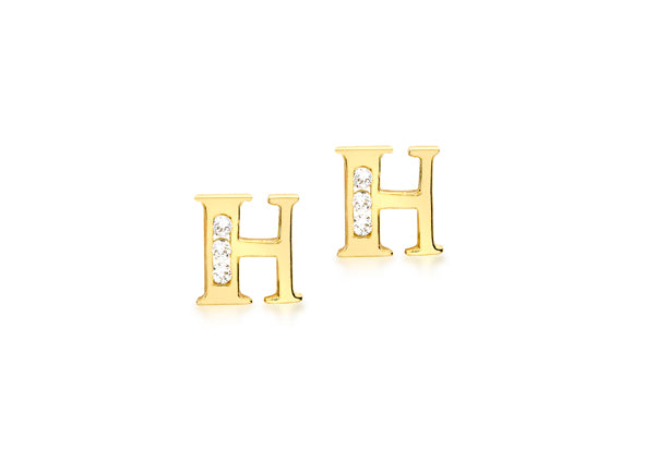 9ct Yellow Gold Initial 'H' Crystal Stud Earring