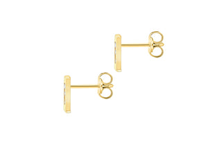 9ct Yellow Gold Initial 'I' Crystal Stud Earring