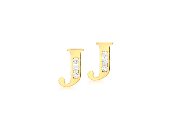 9ct Yellow Gold Initial 'J' Crystal Stud Earring