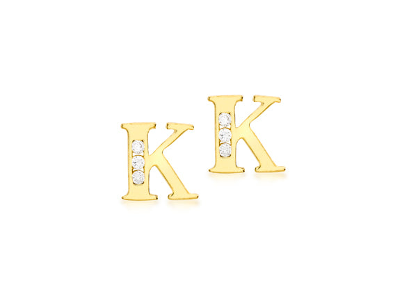 9ct Yellow Gold Initial 'K' Crystal Stud Earring