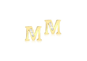 9ct Yellow Gold Initial 'M' Crystal Stud Earring