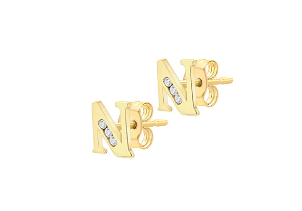9ct Yellow Gold Initial 'N' Crystal Stud Earring