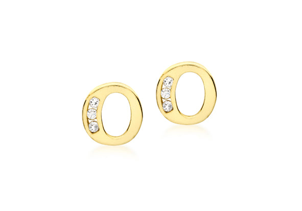 9ct Yellow Gold Initial 'O' Crystal Stud Earring