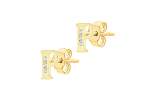 9ct Yellow Gold Initial 'P' Crystal Stud Earring