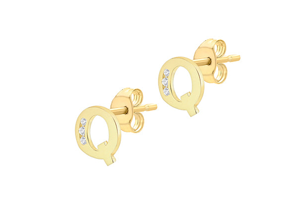 9ct Yellow Gold Initial 'Q' Crystal Stud Earring