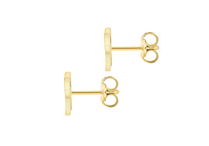 9ct Yellow Gold Initial 'R' Crystal Stud Earring