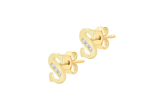 9ct Yellow Gold Initial 'S' Crystal Stud Earring