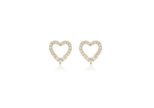 9ct Yellow Gold Crystal Set Heart Stud Earring