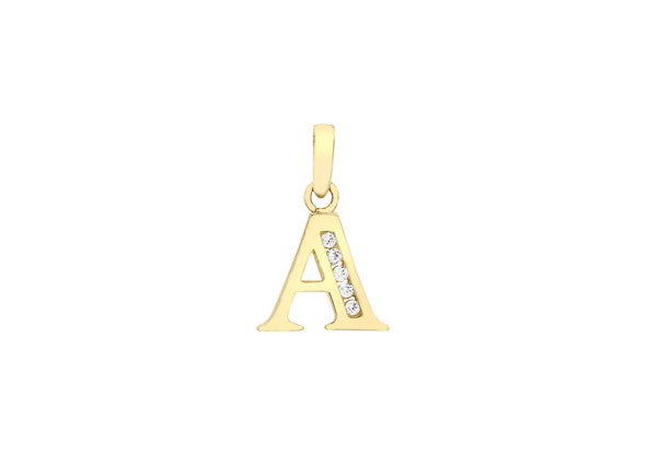 9ct Yellow Gold Crystal Set 'A' Initial