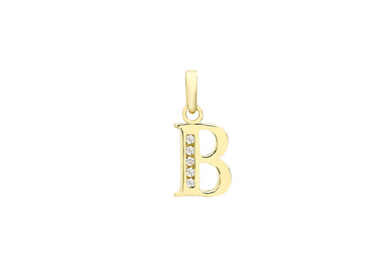 9ct Yellow Gold Crystal Set 'B' Initial