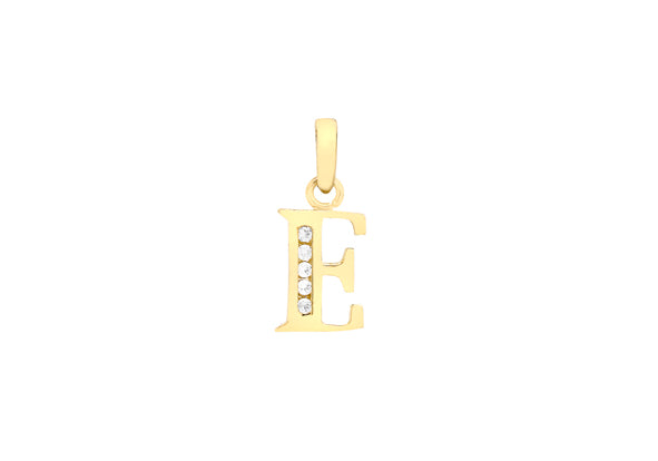 9ct Yellow Gold Crystal Initial 'E' Necklace