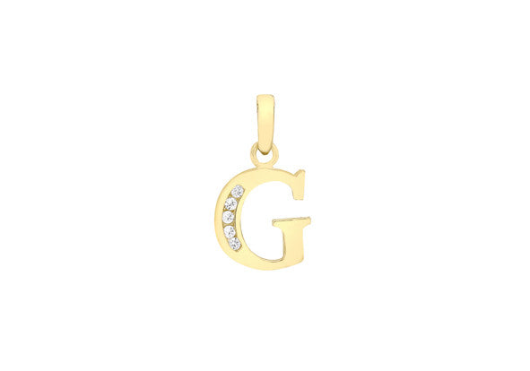 9ct Yellow Gold Crystal Set 'G' Initial