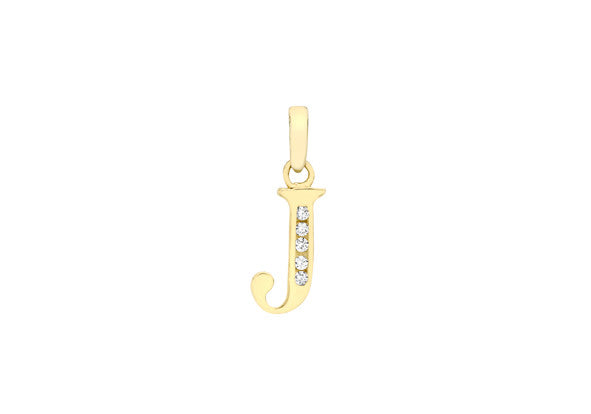 9ct Yellow Gold Crystal Set 'J' Initial