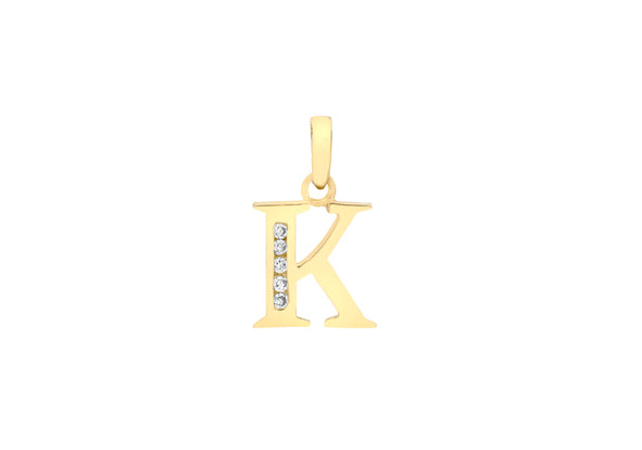 9ct Yellow Gold Crystal Initial 'K' Necklace