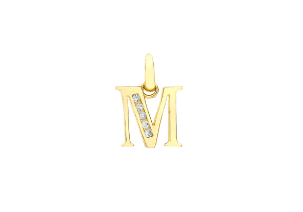 9ct Yellow Gold Crystal Initial 'M' Necklace