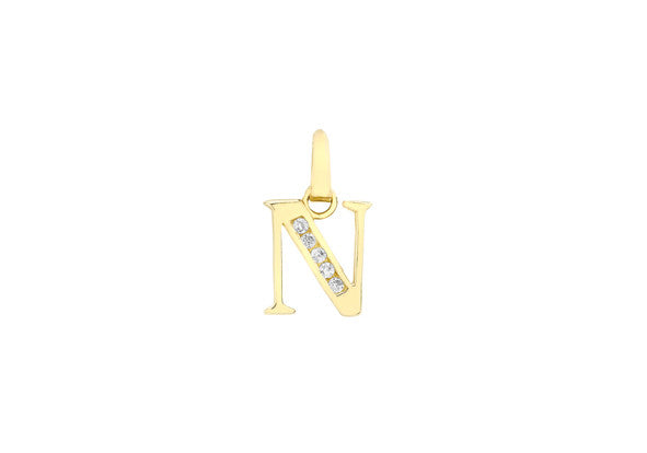 9ct Yellow Gold Crystal Set 'N' Initial