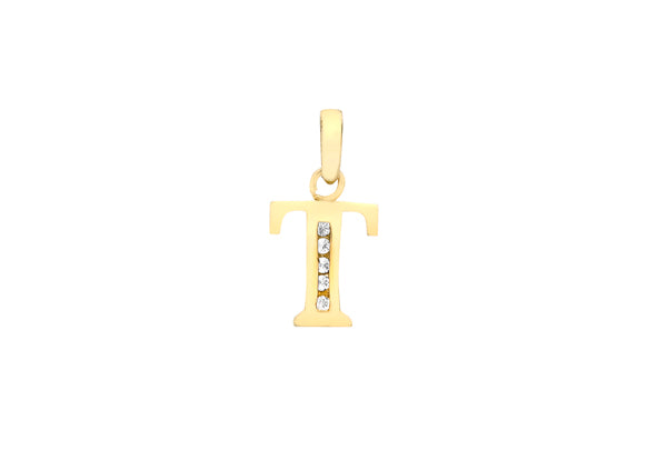 9ct Yellow Gold Crystal Initial 'T' Necklace