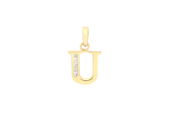 9ct Yellow Gold Crystal Initial 'U' Necklace