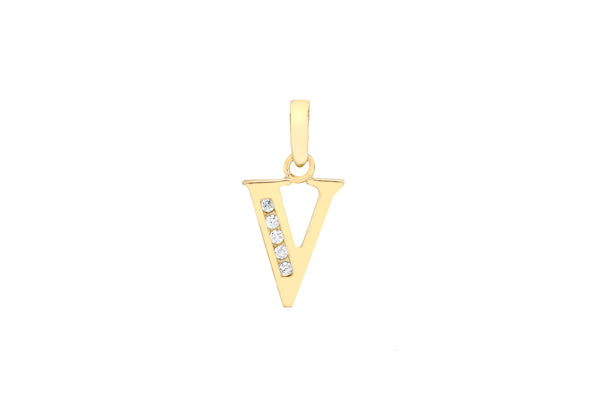 9ct Yellow Gold Crystal Initial 'V' Necklace