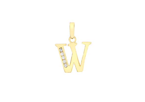9ct Yellow Gold Crystal Initial 'W' Necklace