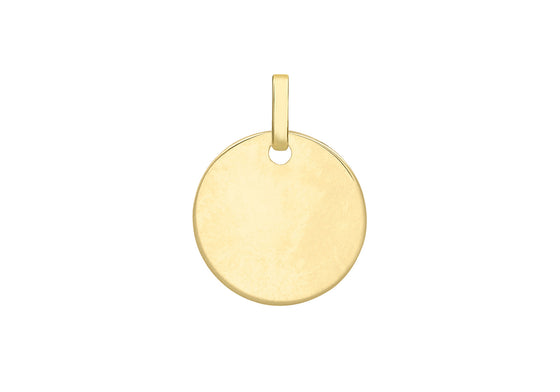 9ct Yellow Gold Plain Disc