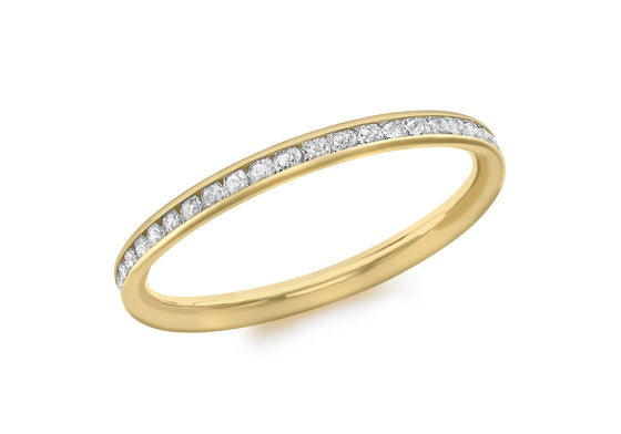 9ct Yellow Gold Channel Set Cubic Zirconia Ring