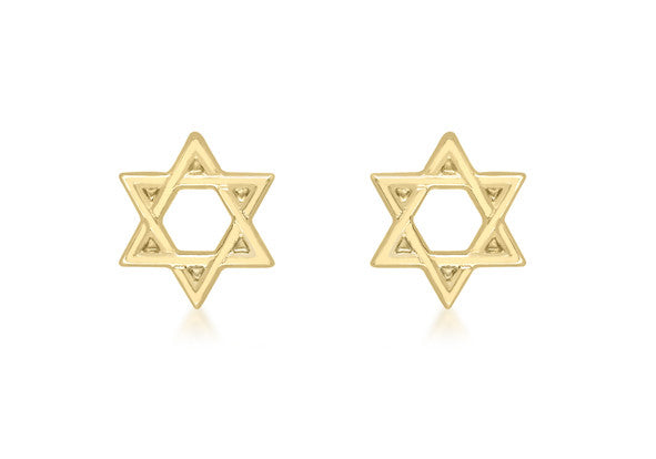 b5cca56942c40 Buy 9ct Yellow Gold Star of David Studs at Tzefira for only £60.00