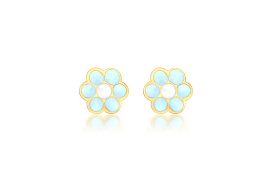 9ct Yellow Gold Blue Enamel Flower Stud Earring