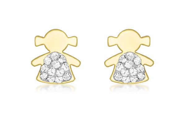 9ct Yellow Gold Crystal Girl Studs