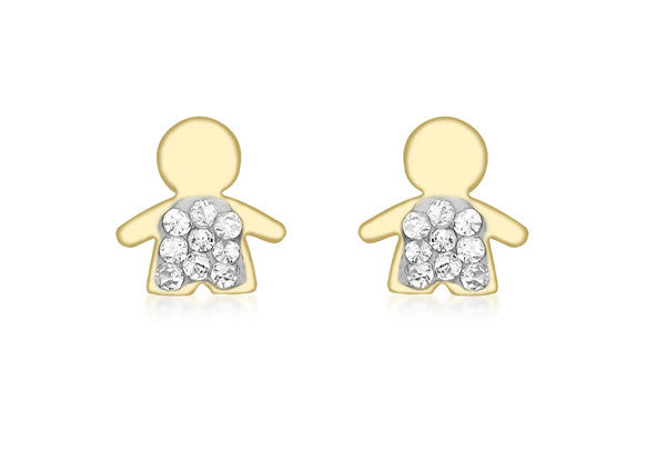 9ct Yellow Gold Crystal Boy Stud