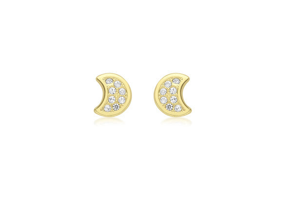 9ct Yellow Gold Crystal Moon Stud
