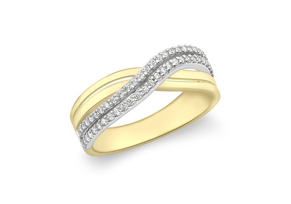 9ct Yellow Gold Crossover Double Row Cubic Zirconia Ring