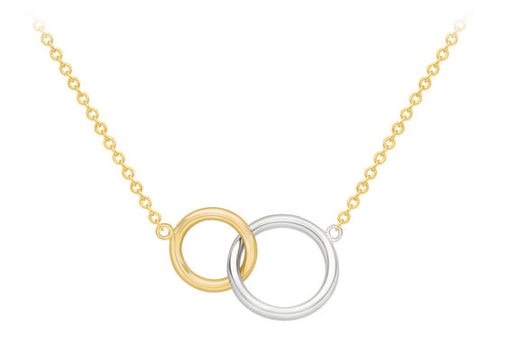 9ct Yellow and White Gold Linking Circle Necklace
