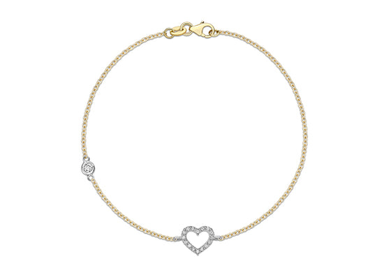 9ct Yellow Gold Open Crystal Heart Bracelet