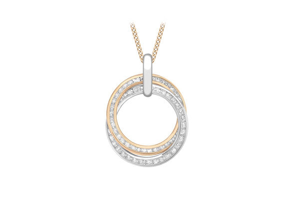 9ct Rose and White Gold Crystal Interlinking Ring Pendant