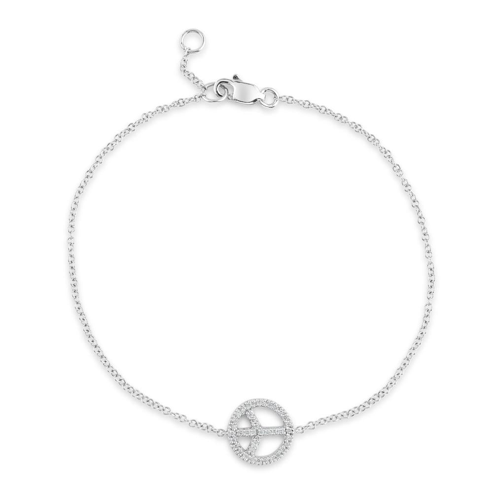 9ct White Gold Diamond Peace Sign Bracelet