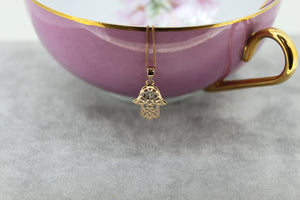 9ct Rose Gold Crystal Hamsa Necklace