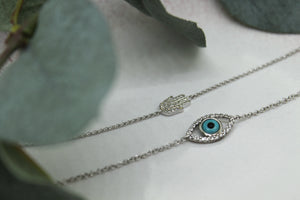9ct White Gold Diamond Set Evil Eye Bracelet